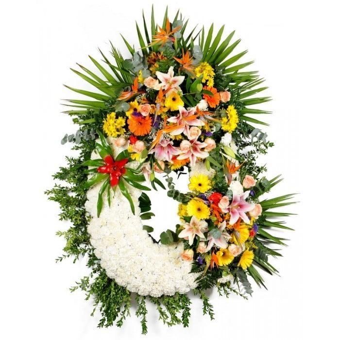 Corona De Flores Clásica Con Pié